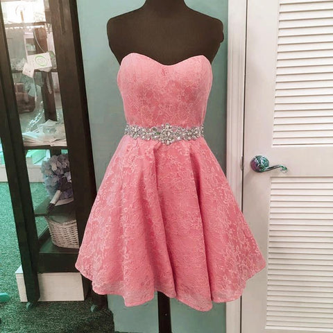 Image of elegant crystal bead sashes sweetheart lace prom homecoming dresses short
