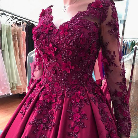 Image of Lace Flower Beaded Long Sleeves Ball Gowns Wedding Dresses 2017