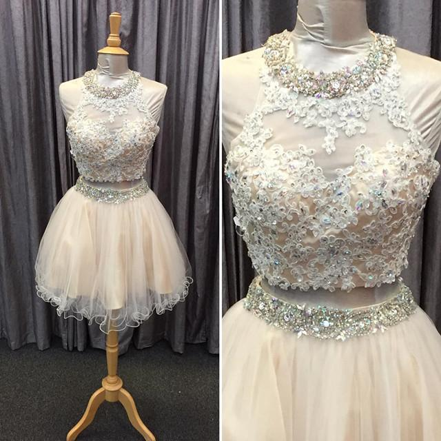 light champagne tulle lace beading homecoming dresses two piece style