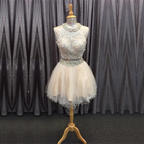 Image of light champagne tulle lace beading homecoming dresses two piece style