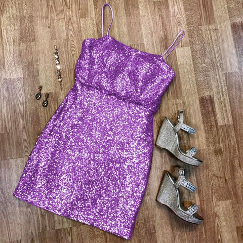 Image of Spaghetti Straps Short Sequins Bridesmaid Dresses