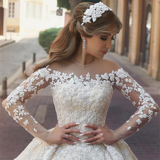 Vintage Long Sleeves Wedding Dresses Lace Embroidery 2017