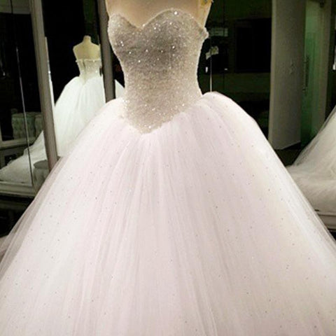 Image of Bling Bling Sweetheart Drop Waist Wedding Princess Dresses Lace Appliques 2017
