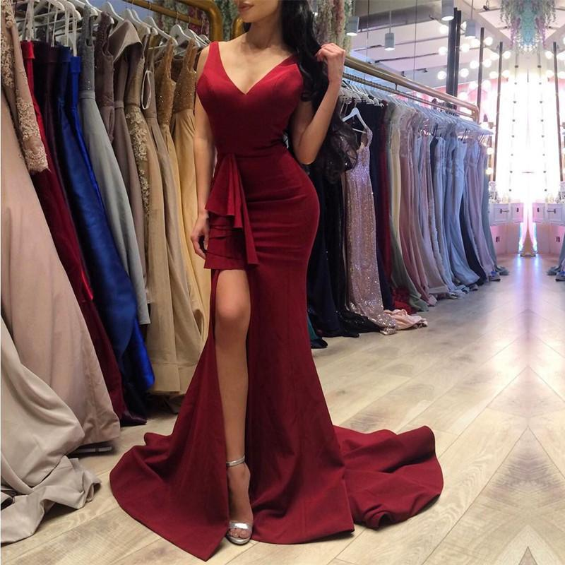 Sexy V Neck Long Slit Burgundy Prom Dresses Mermaid 2017