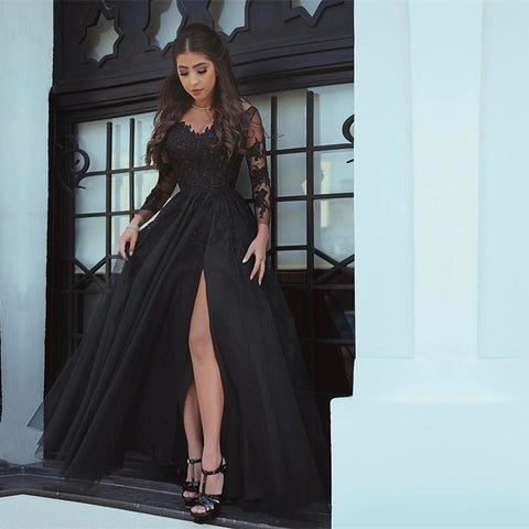 Image of Long-sleeves-Prom-Dresses-2019-Black-Evening-Gowns