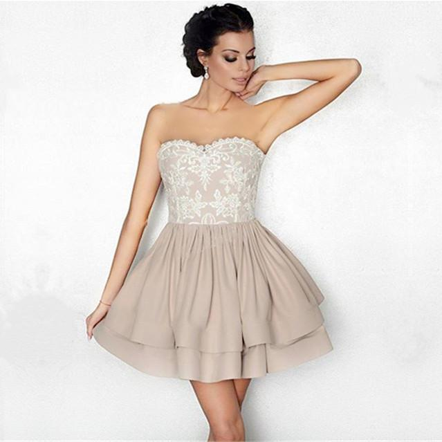 White Lace Appliques Nude Satin Ruffle Homecoming Dresses 2018