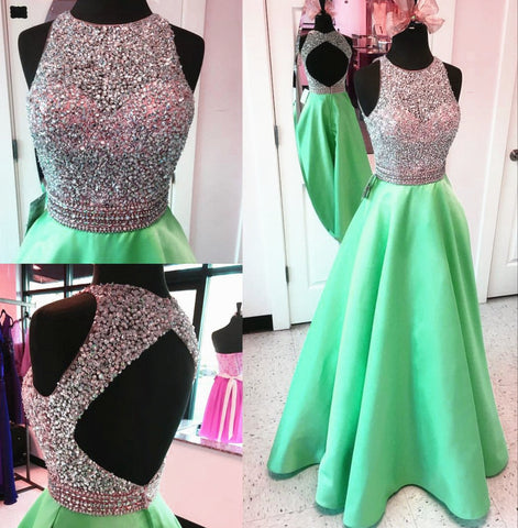 Image of Unique Keyhole Back Long Satin Prom Dresses Ball Gowns Sequins And Beaded
