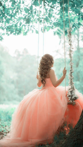 Image of Pink Coral Lace Beading Tulle Ball Gowns Quinceanera Dresses