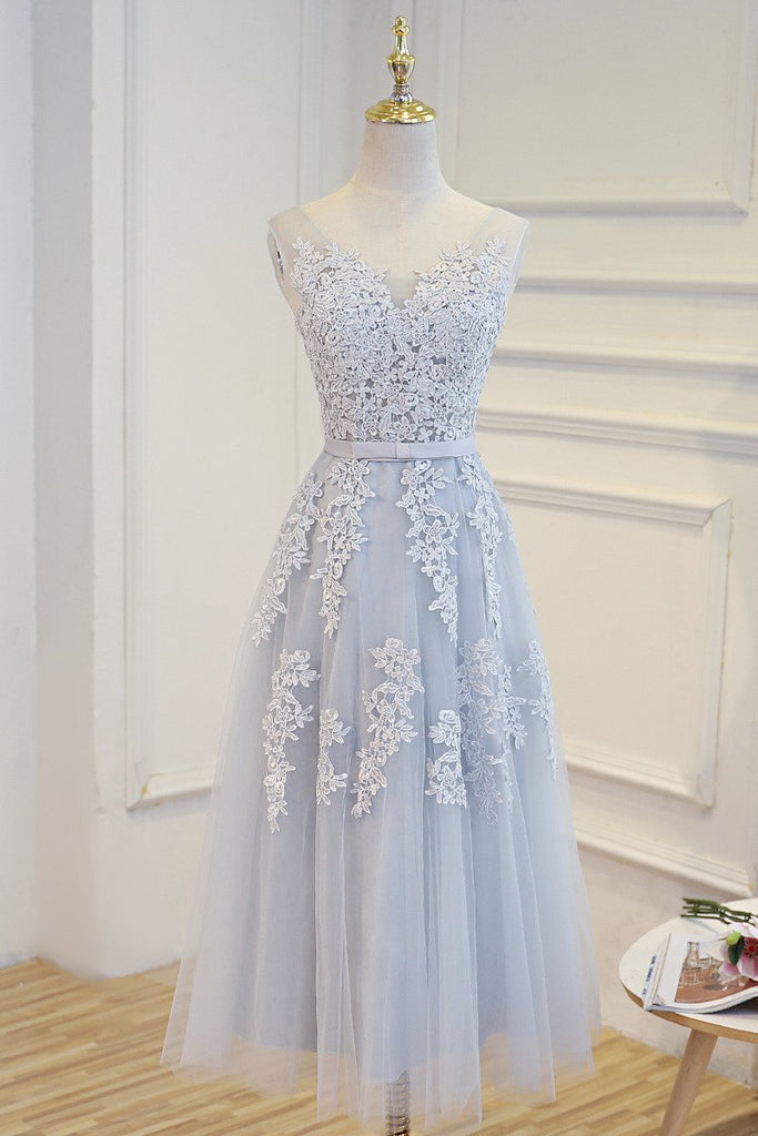 Elegant Lace Appliques Tea Length Bridesmaid Party Dresses