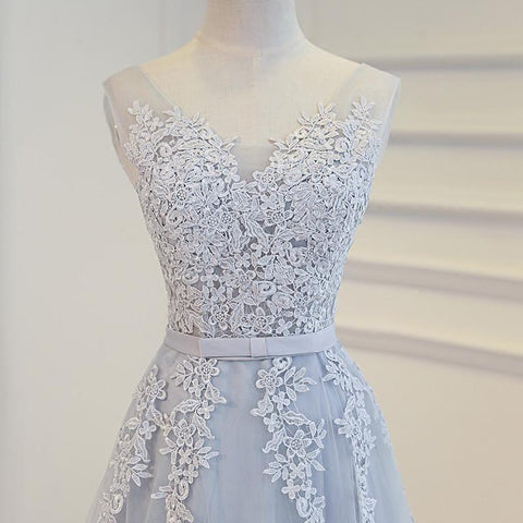Image of Elegant Lace Appliques Tea Length Bridesmaid Party Dresses