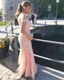 V-neck Off Shoulder Tulle Mermaid Prom Dresses Lace Appliques Evening Gowns