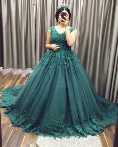 Image of Elegant Lace Appliques V-neck Tulle Empire Prom Dresses Ball Gowns