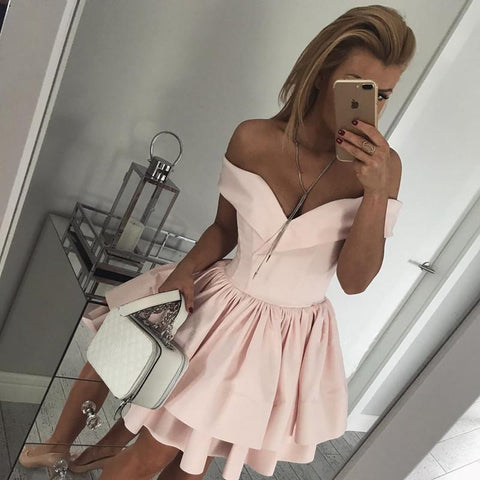 Image of Pink Satin V Neck Off Shoulder Homecoming Dresses Short Ruffle Prom Gowns