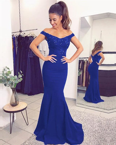 Image of Mermaid V-neck Evening Dresses Lace Off Shoulder Prom Gowns