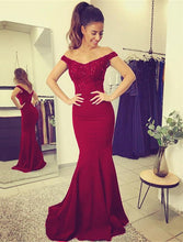 Afbeelding in Gallery-weergave laden, Mermaid V-neck Evening Dresses Lace Off Shoulder Prom Gowns