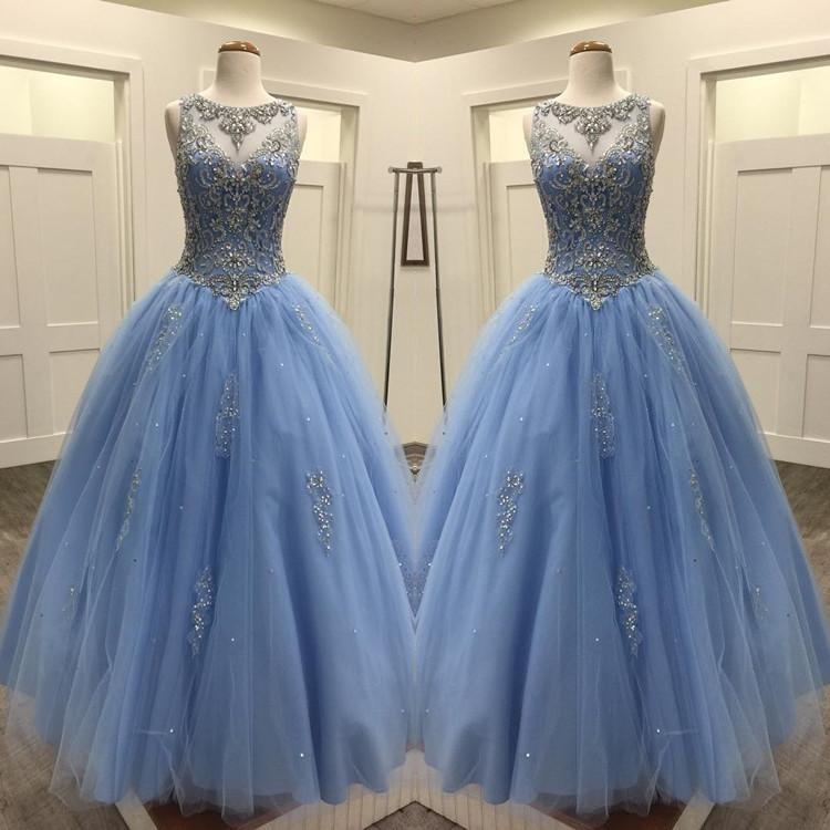 Light Blue Tulle Ball Gowns Quinceanera Dresses Crystal Beaded