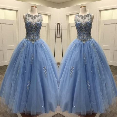 Image of Light Blue Tulle Ball Gowns Quinceanera Dresses Crystal Beaded