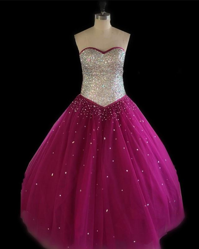 Ball Gowns Quinceanera Dresses Crystal Beaded Sweetheart Bodice Corset