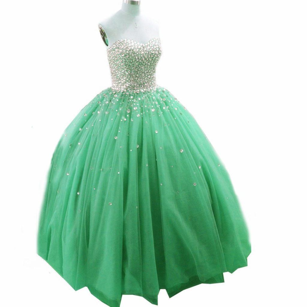 Organza Ball Gowns Sweetheart Prom Dresses With Crystal Beaded