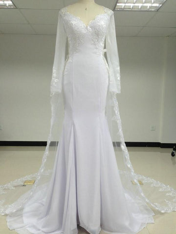Image of lace long sleeves open back mermaid wedding dresses 2017