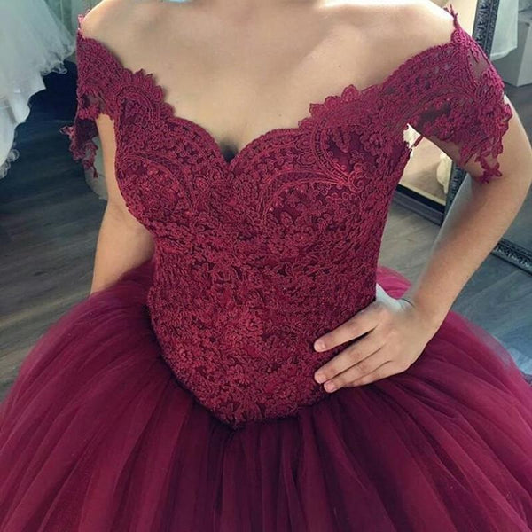 Burgundy Ball Gown Dresses Lace Off The Shoulder