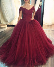 Load image into Gallery viewer, Burgundy Ball Gown Dresses Lace Off The Shoulder