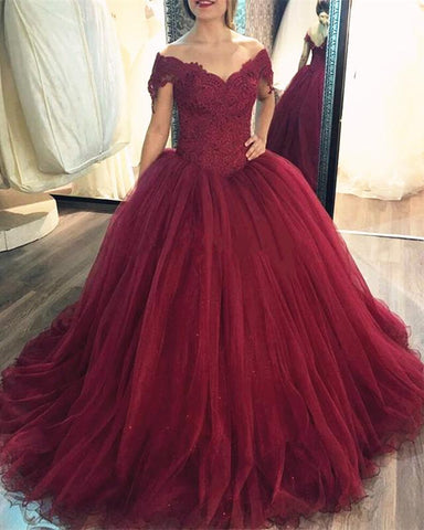 Image of Burgundy Ball Gown Dresses Lace Off The Shoulder