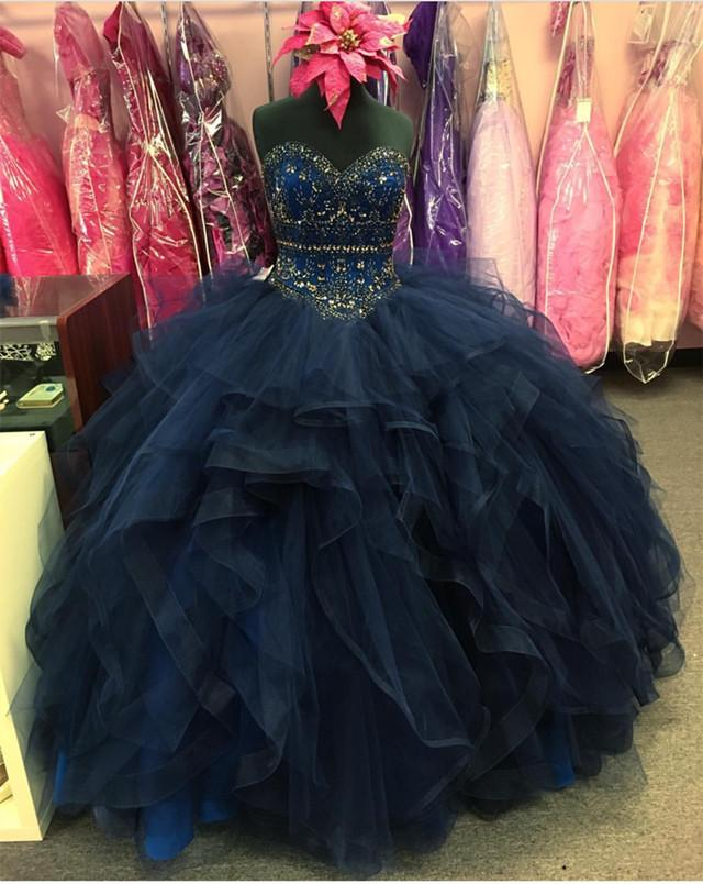 beaded sweetheart organza ruffle snavy blue quinceanera dresses ball gowns