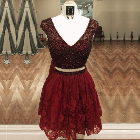 Image of Stunning Beaded Cap Sleeves Lace Homecoming Dresses Two Piece