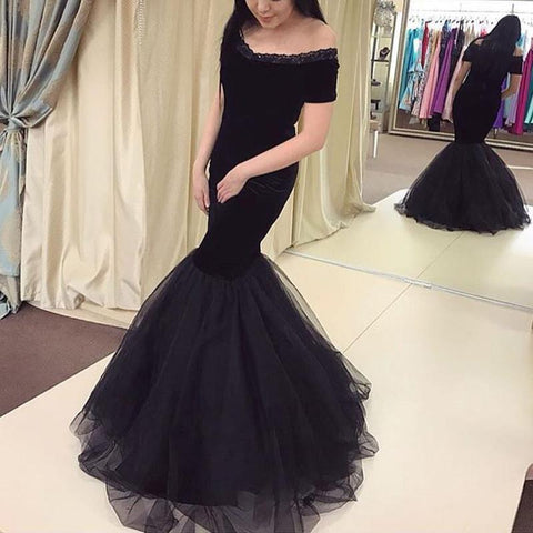Image of Tulle Mermaid Evening Dresses Off The Shoulder