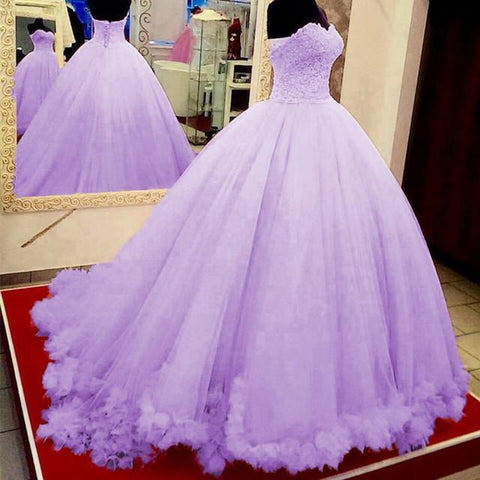 Image of Pink Lace Appliques Sweetheart Tulle Quinceanera Dresses Ball Gowns
