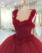 Afbeelding in Gallery-weergave laden, Maroon Tulle Ball Gown Flower Wedding Dresses With Crystal Beaded Bodice