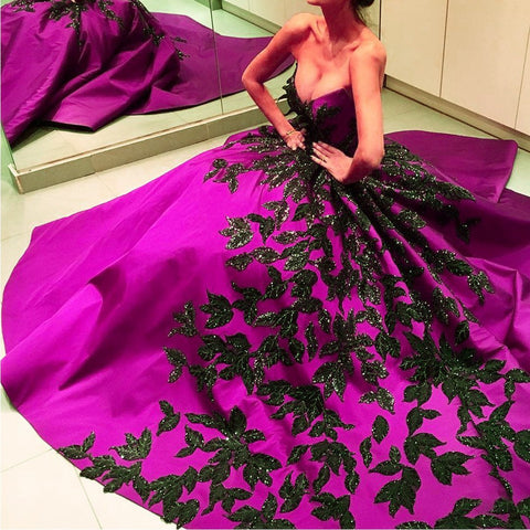 Image of Black Embroidery Beaded Satin Strapless Ball Gowns Couture Evening Dress