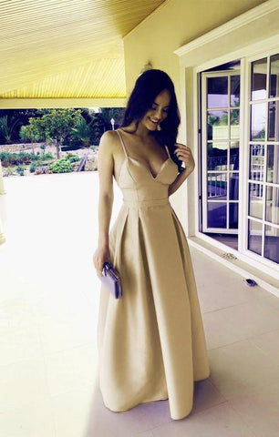Image of Spaghetti Straps Sweetheart Long Satin Floor Length Bridesmaid Dresses