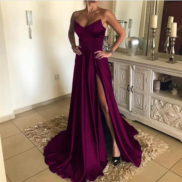 Sexy A Line Strapless Long Satin Split Prom Dresses