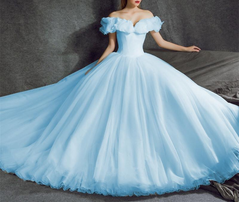 Off Shoulder Tulle Ball Gowns Cinderella Wedding Dresses 2018