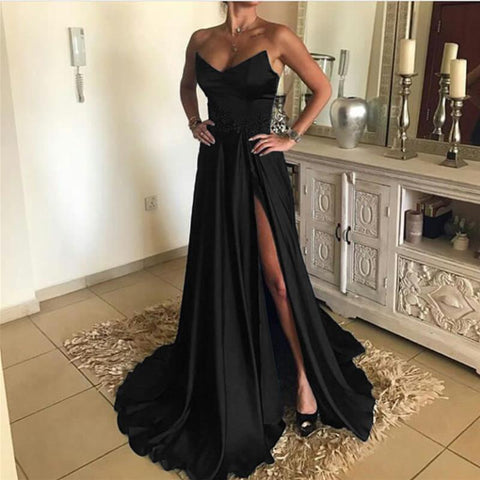 Image of Sexy A Line Strapless Long Satin Split Prom Dresses
