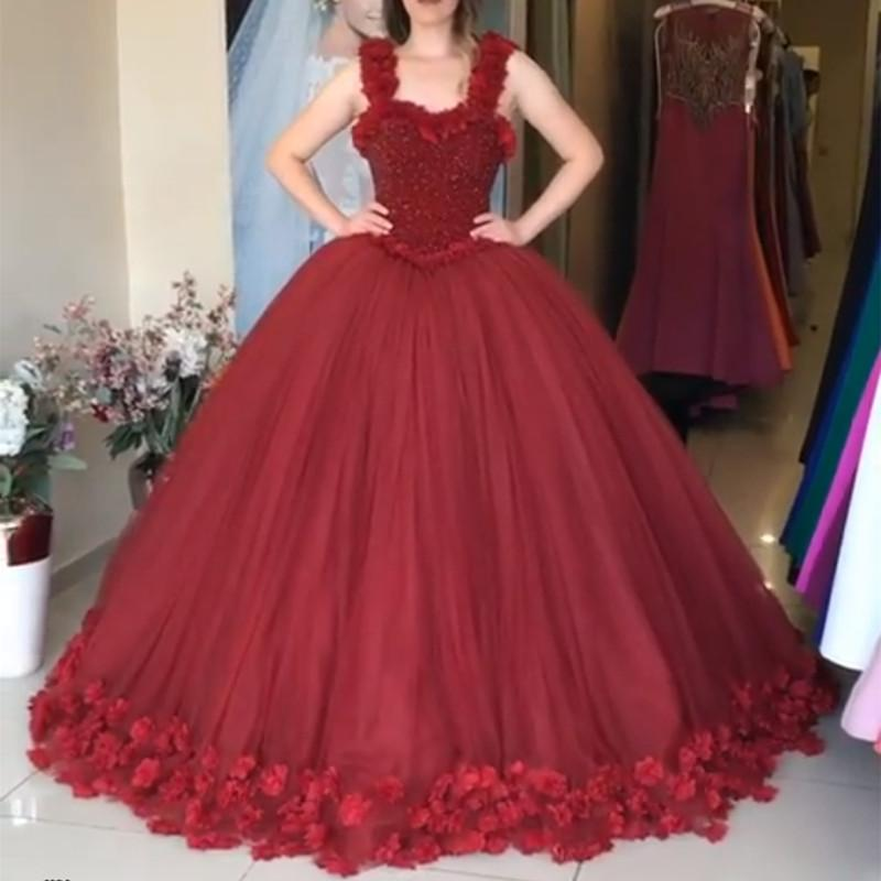 Maroon Tulle Ball Gown Flower Wedding Dresses With Crystal Beaded Bodice