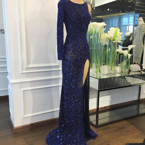 Image of Fully Crystal Beaded Mermaid Evening Dresses One Shoulder Prom Gowns