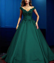 Afbeelding in Gallery-weergave laden, Lace Flowers Beaded V-neck Ball Gowns Prom Dresses Satin