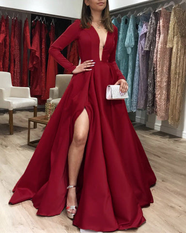 Image of Long Sleeves Satin Prom Dresses Leg Slit Evening Gown