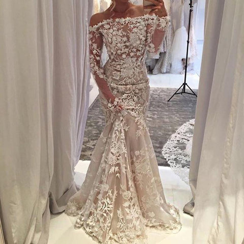 Image of Off The Shoulder Long Sleeves Lace Mermaid Prom Dresses 2018