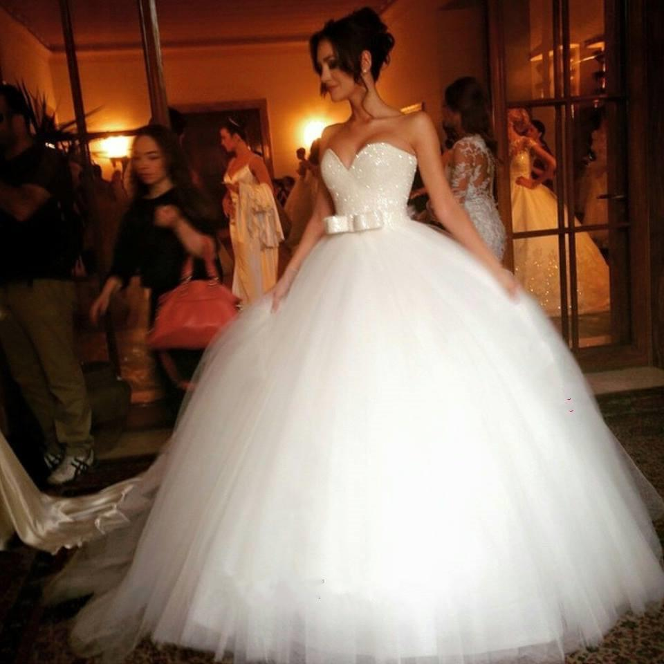 Bling Bling Sequin Beaded Sweetheart Bow Sashes Tulle Ball Gown Wedding Dresses
