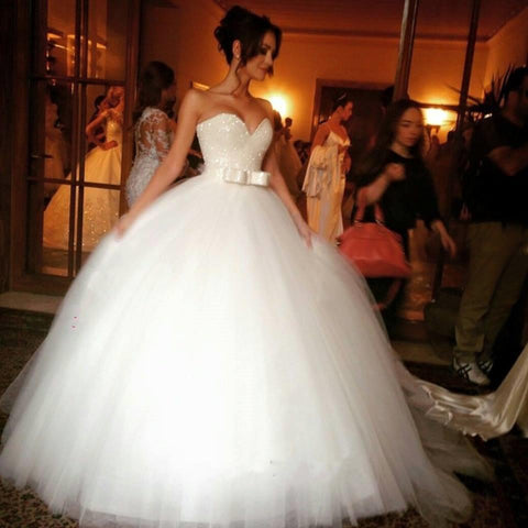 Image of Bling Bling Sequin Beaded Sweetheart Bow Sashes Tulle Ball Gown Wedding Dresses