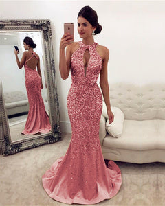Champagne-Mermaid-Evening-Dresses