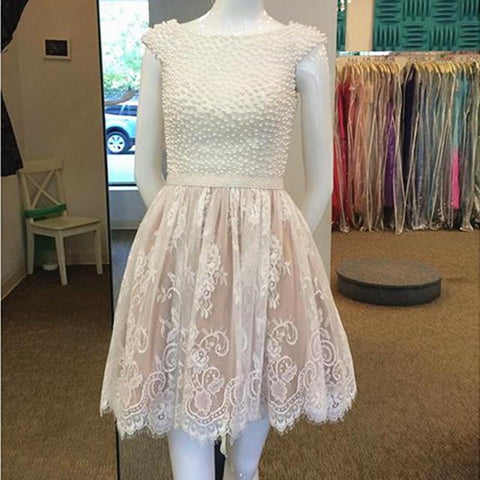 Image of pearl beaded cap sleeves lace homecoming dresses short prom gowns 2017