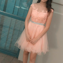 Load image into Gallery viewer, Pretty Lace Appliques Tulle Ruffles Homecoming Dresses Short