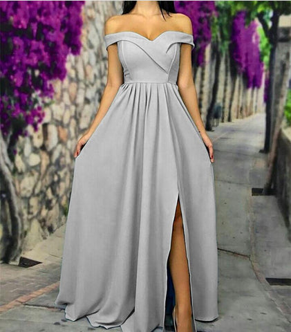 Image of Sexy Off The Shoulder Long Satin Bridesmaid Dresses With Leg Slit