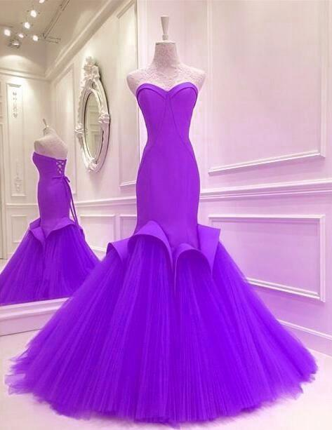 Long Satin Corset Sweetheart Mermaid Dress With Tulle Skirt