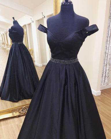 Image of Off The Shoulder Sweetheart Long Satin Prom Dresses Ball Gowns